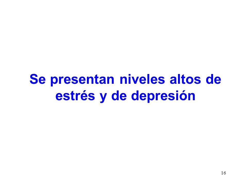16 Se presentan niveles altos de estrés y de depresión
