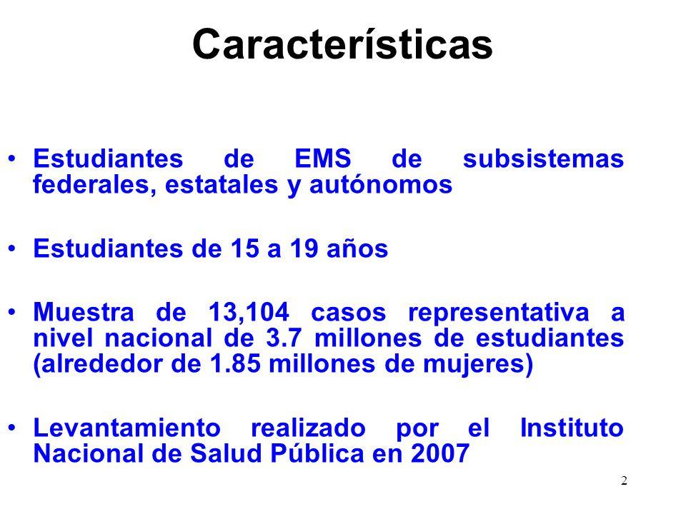 2 Características Estudiantes de EMS de subsistemas federales, estatales y autónomos Estudiantes de 15 a 19 años Muestra de 13,104 casos representativ
