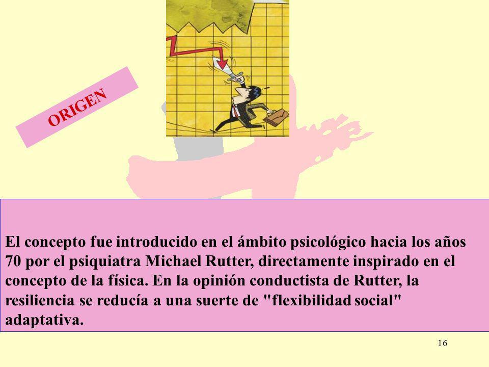 16 El concepto fue introducido en el ámbito psicológico hacia los años 70 por el psiquiatra Michael Rutter, directamente inspirado en el concepto de l