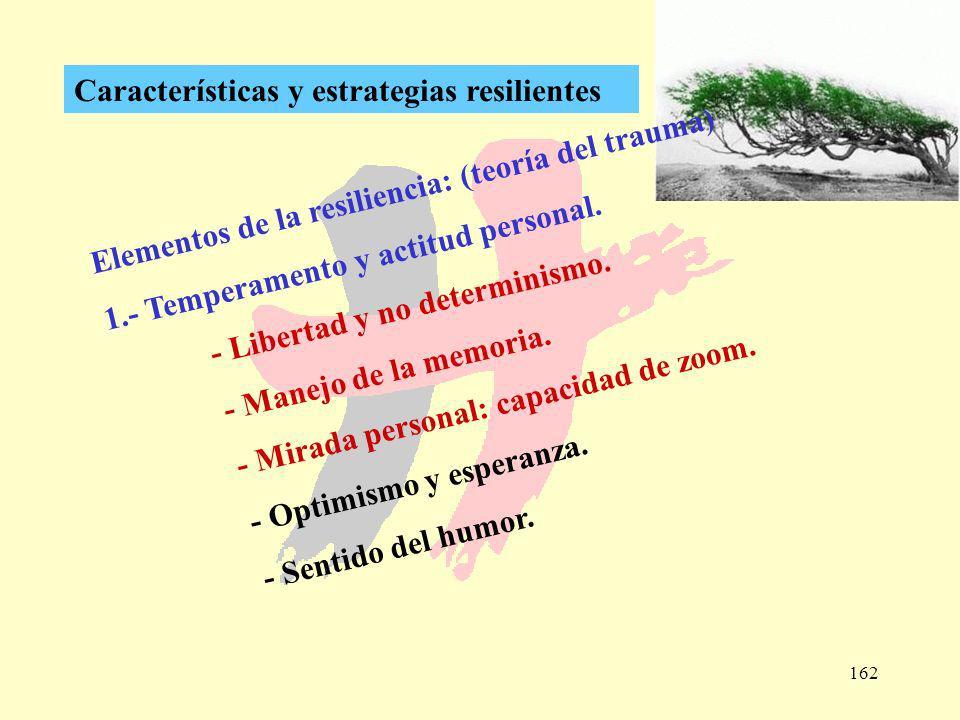 162 Características y estrategias resilientes Elementos de la resiliencia: (teoría del trauma) 1.- Temperamento y actitud personal. - Libertad y no de