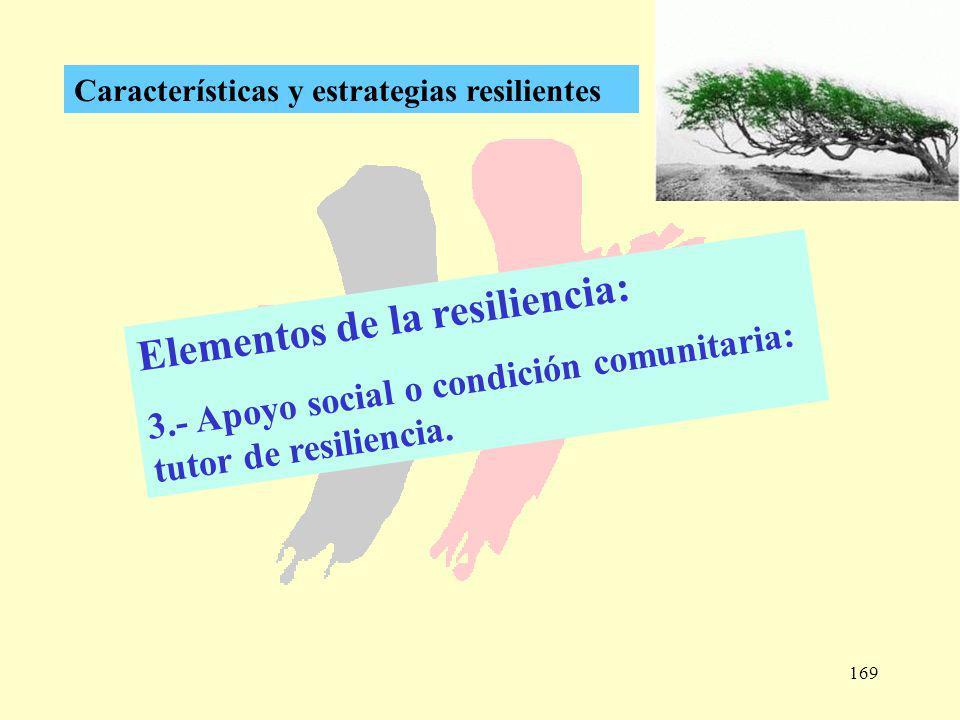 169 Características y estrategias resilientes Elementos de la resiliencia: 3.- Apoyo social o condición comunitaria: tutor de resiliencia.