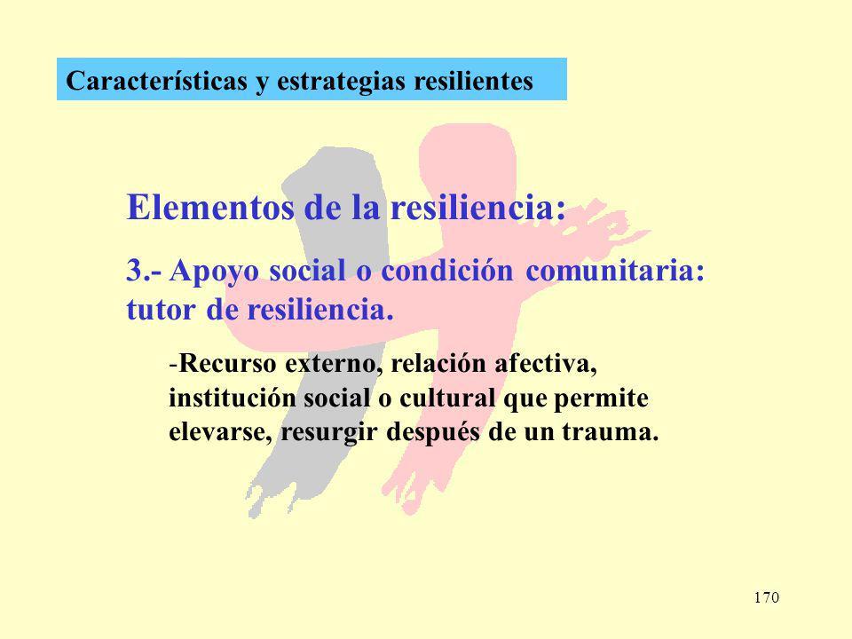 170 Características y estrategias resilientes Elementos de la resiliencia: 3.- Apoyo social o condición comunitaria: tutor de resiliencia. -Recurso ex