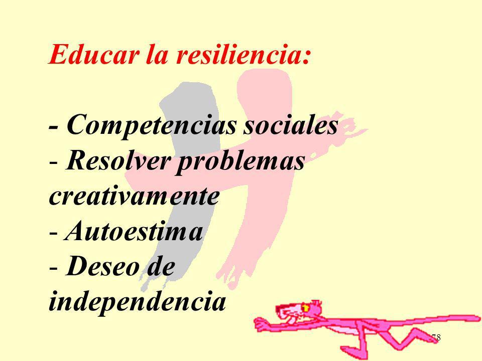 178 Educar la resiliencia: - Competencias sociales - Resolver problemas creativamente - Autoestima - Deseo de independencia