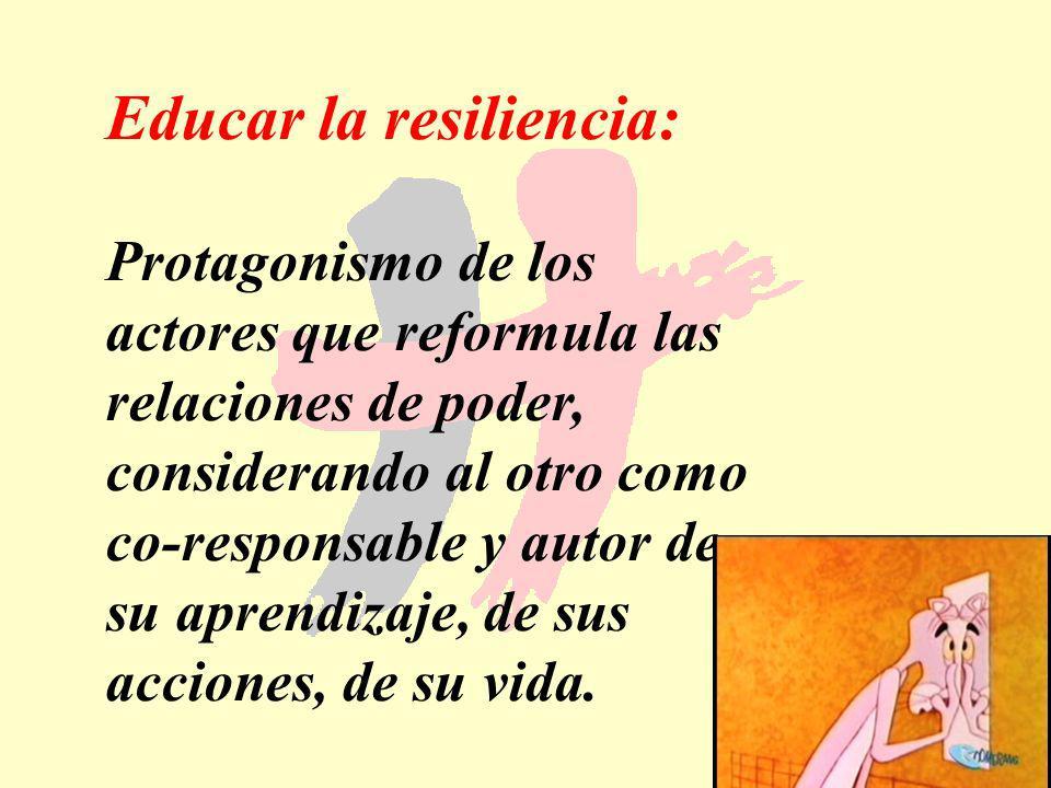 179 Educar la resiliencia: Protagonismo de los actores que reformula las relaciones de poder, considerando al otro como co-responsable y autor de su a