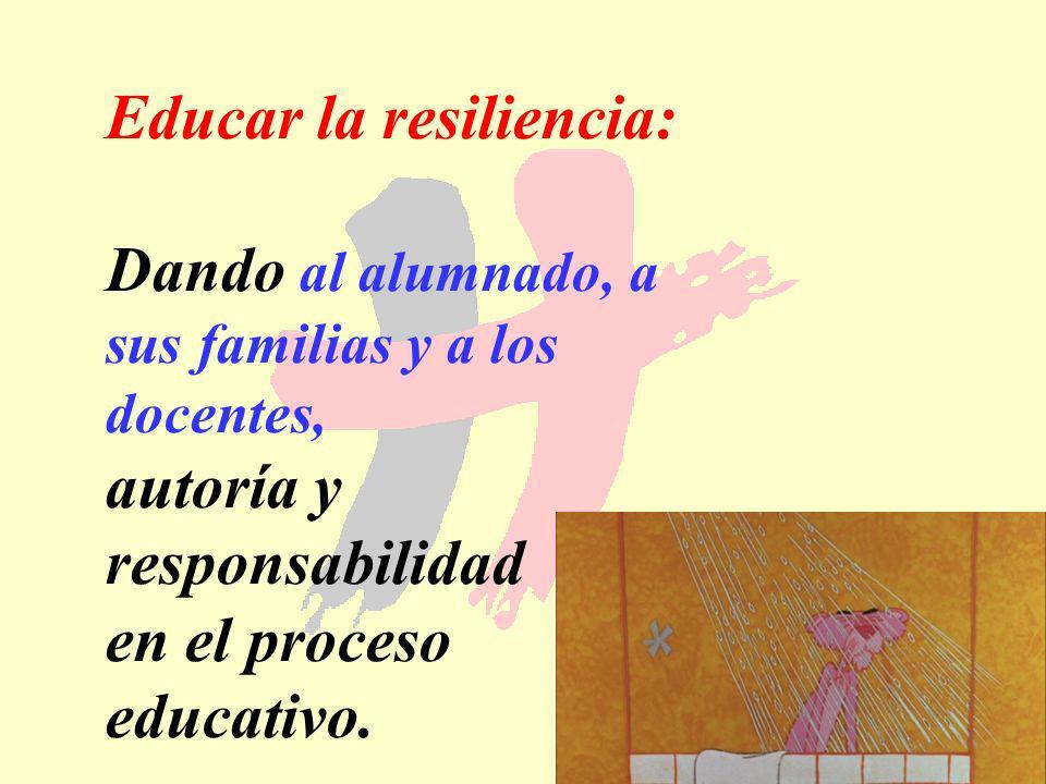 180 Educar la resiliencia: Dando al alumnado, a sus familias y a los docentes, autoría y responsabilidad en el proceso educativo.