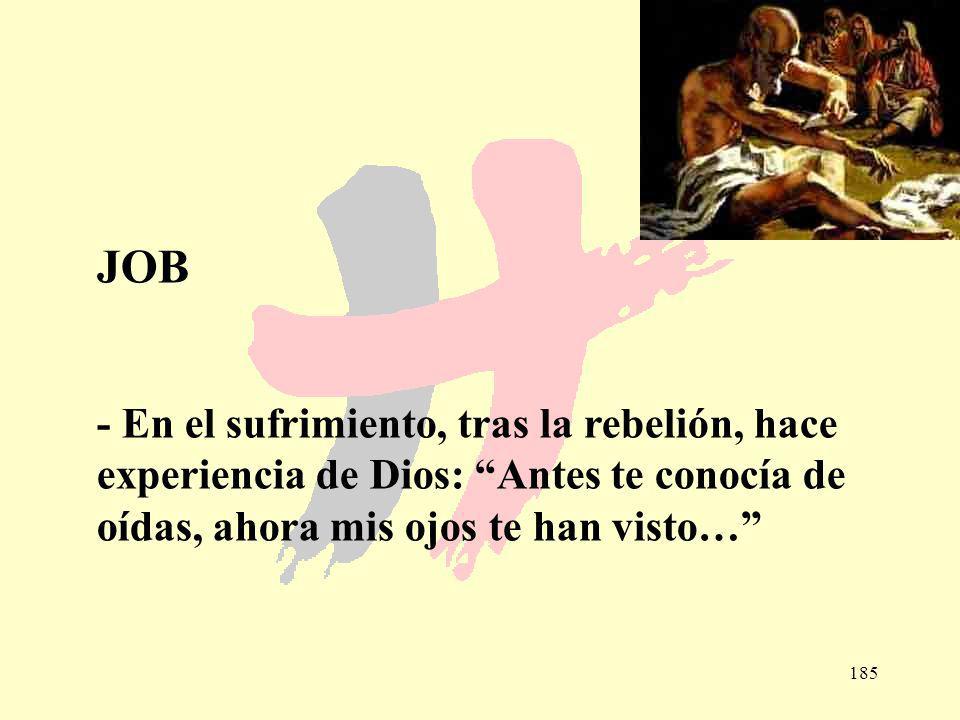 185 JOB - En el sufrimiento, tras la rebelión, hace experiencia de Dios: Antes te conocía de oídas, ahora mis ojos te han visto…