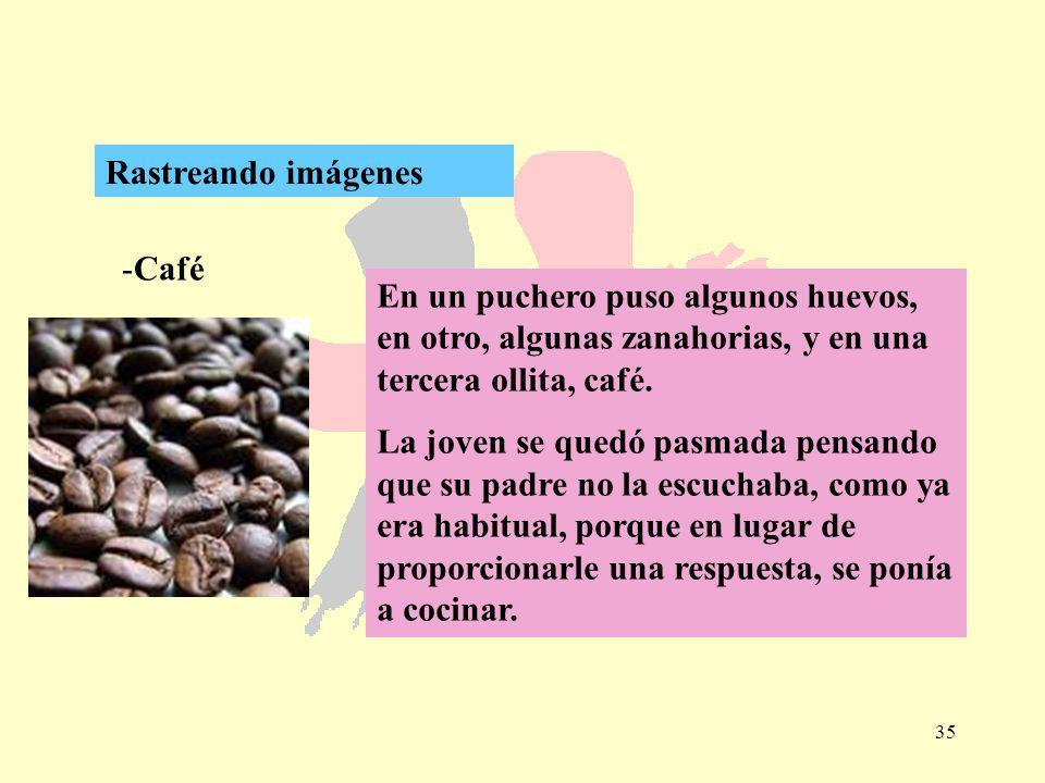 35 -Café Rastreando imágenes En un puchero puso algunos huevos, en otro, algunas zanahorias, y en una tercera ollita, café. La joven se quedó pasmada