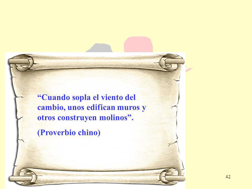 42 Cuando sopla el viento del cambio, unos edifican muros y otros construyen molinos. (Proverbio chino)