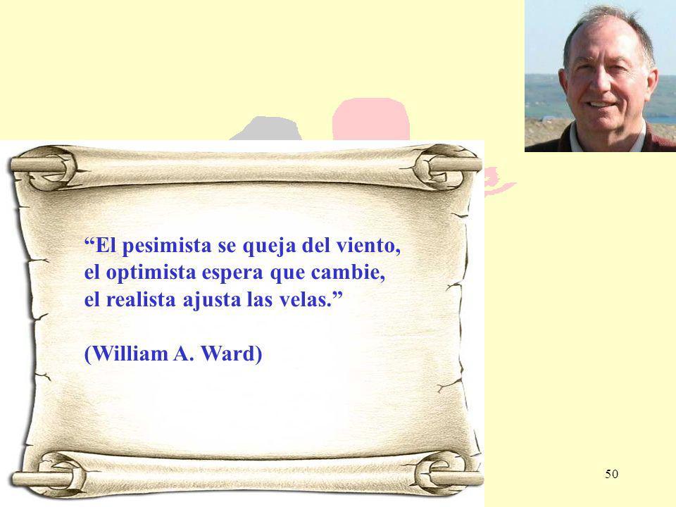 50 El pesimista se queja del viento, el optimista espera que cambie, el realista ajusta las velas. (William A. Ward)