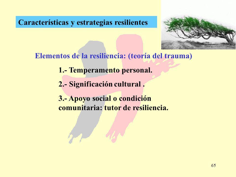 65 Características y estrategias resilientes Elementos de la resiliencia: (teoría del trauma) 1.- Temperamento personal. 2.- Significación cultural. 3