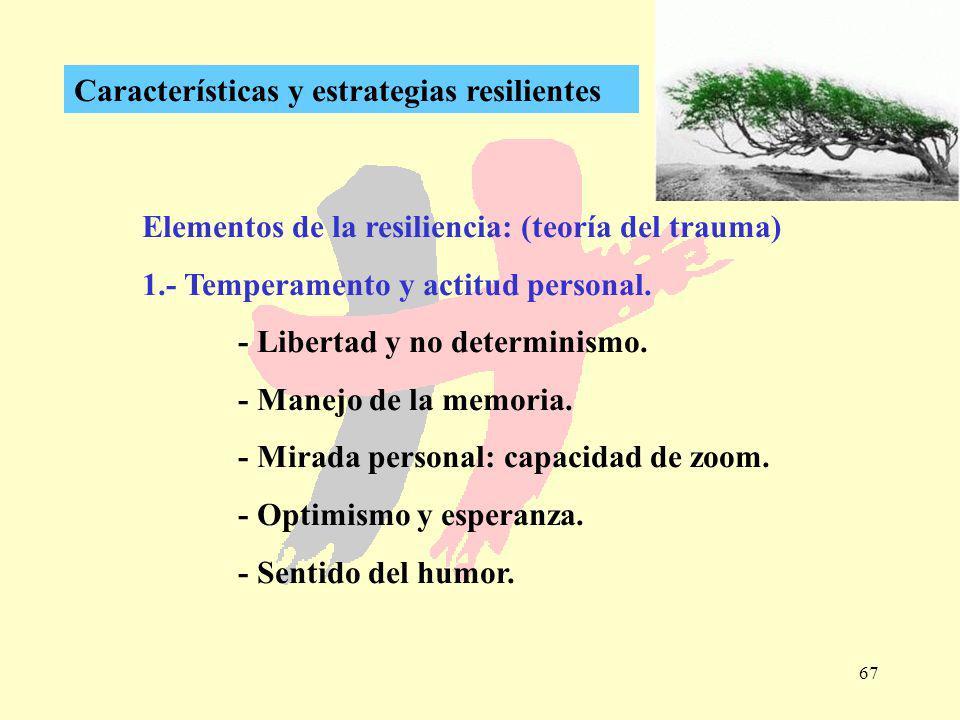 67 Características y estrategias resilientes Elementos de la resiliencia: (teoría del trauma) 1.- Temperamento y actitud personal. - Libertad y no det