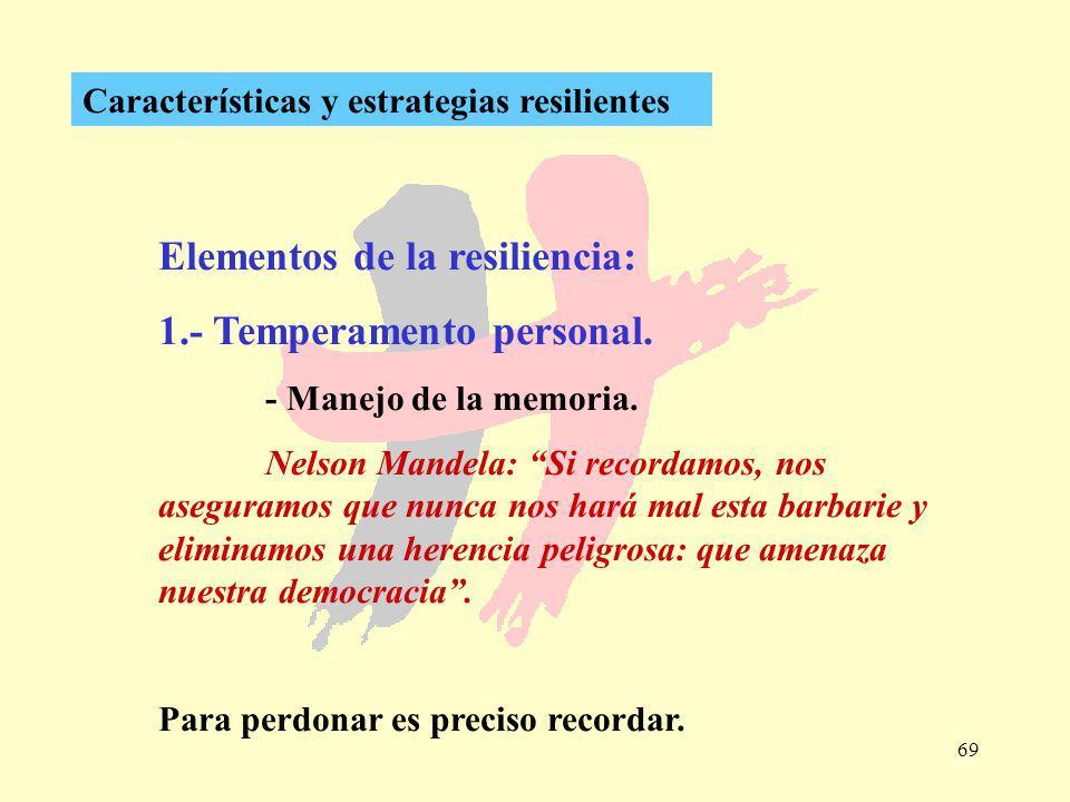 69 Características y estrategias resilientes Elementos de la resiliencia: 1.- Temperamento personal. - Manejo de la memoria. Nelson Mandela: Si record