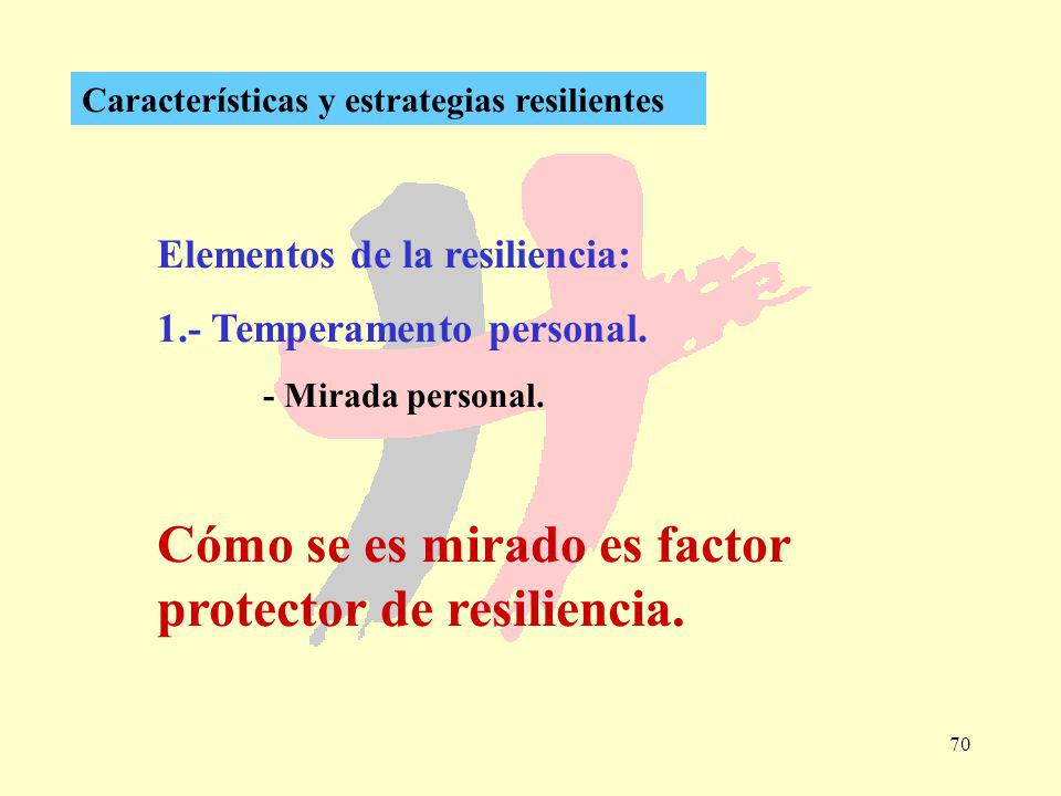 70 Características y estrategias resilientes Elementos de la resiliencia: 1.- Temperamento personal. - Mirada personal. Cómo se es mirado es factor pr