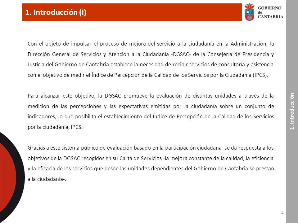 1. Introducción (I) 4 Con el objeto de impulsar el proceso de mejora del servicio a la ciudadanía en la Administración, la Dirección General de Servic
