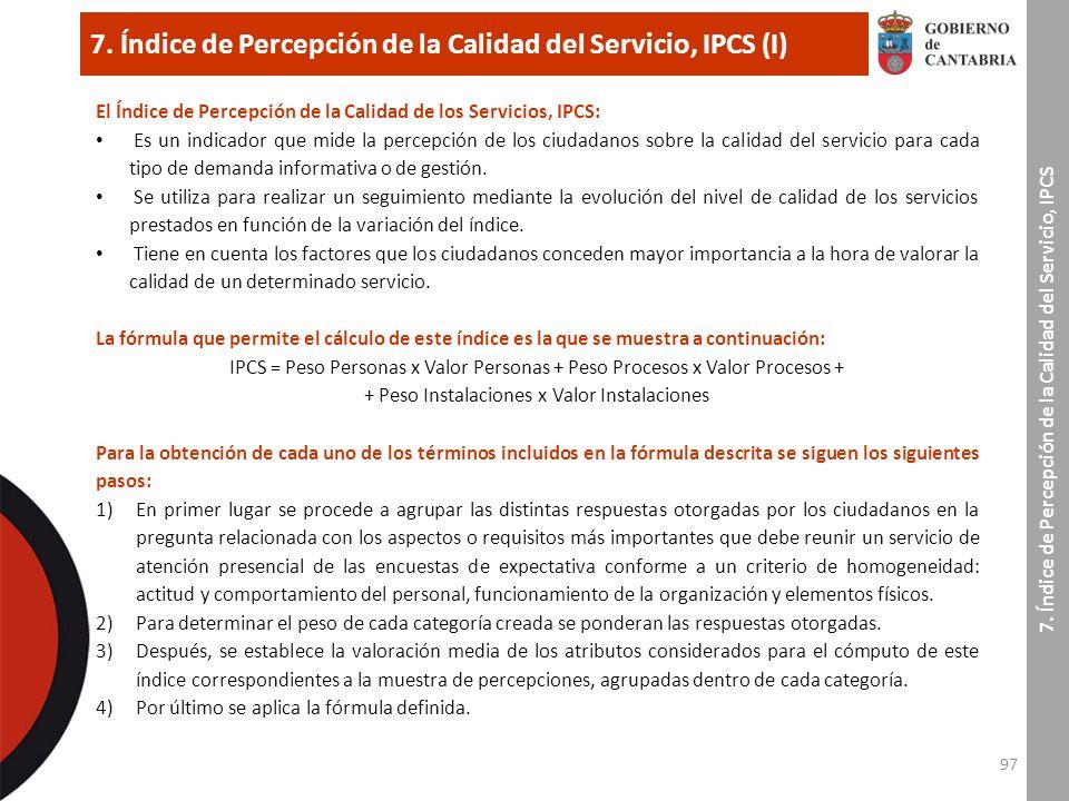 97 7. Índice de Percepción de la Calidad del Servicio, IPCS (I) 7.