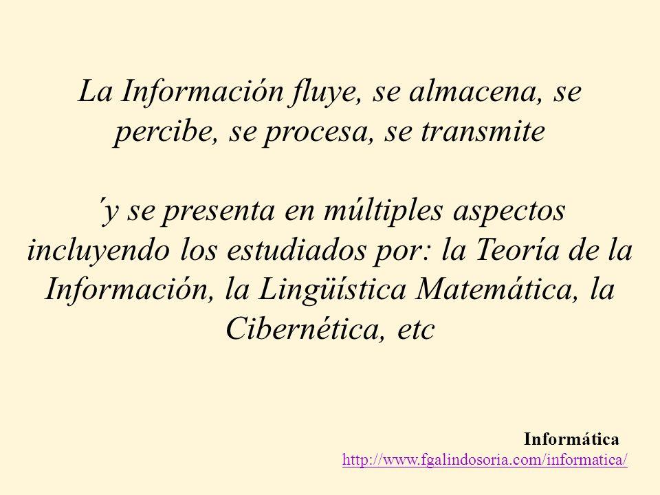 Informática http://www.fgalindosoria.com/informatica/ La Información fluye, se almacena, se percibe, se procesa, se transmite ´y se presenta en múltiples aspectos incluyendo los estudiados por: la Teoría de la Información, la Lingüística Matemática, la Cibernética, etc