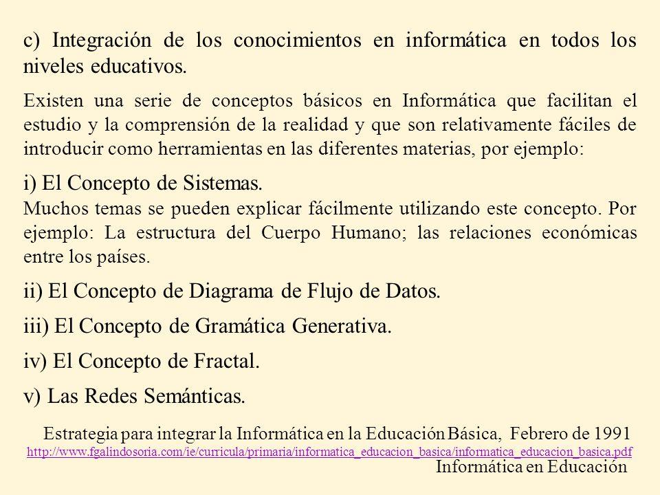 c) Integración de los conocimientos en informática en todos los niveles educativos. Existen una serie de conceptos básicos en Informática que facilita