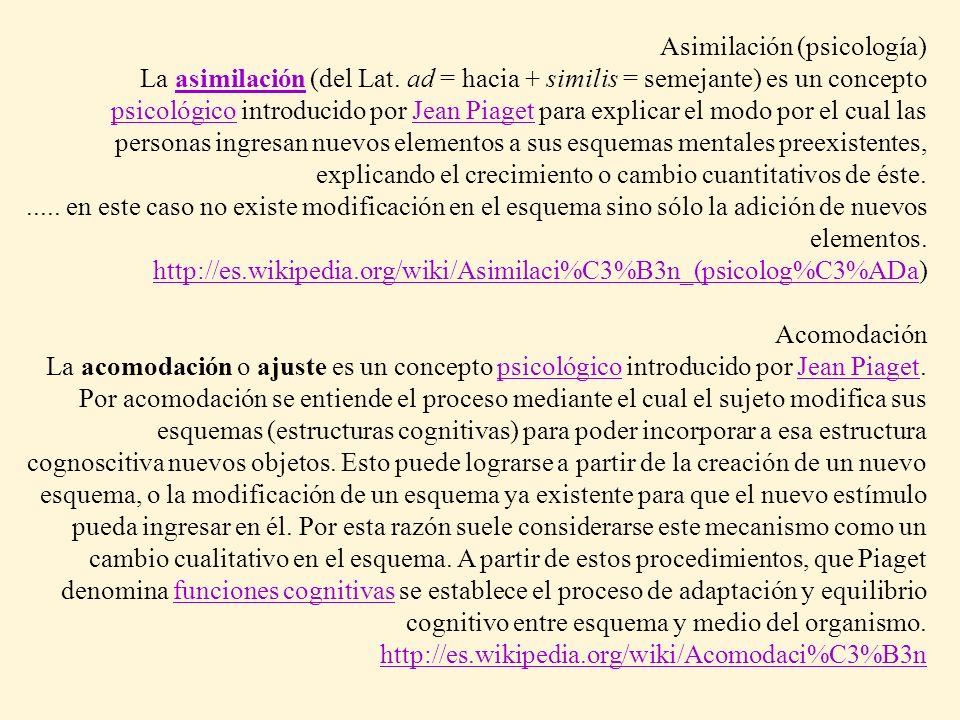 Asimilación (psicología) La asimilación (del Lat. ad = hacia + similis = semejante) es un concepto psicológico introducido por Jean Piaget para explic