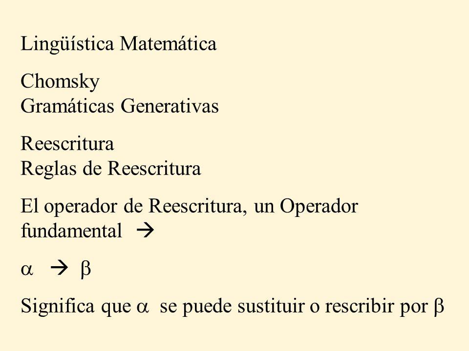 Lingüística Matemática Chomsky Gramáticas Generativas Reescritura Reglas de Reescritura El operador de Reescritura, un Operador fundamental Significa