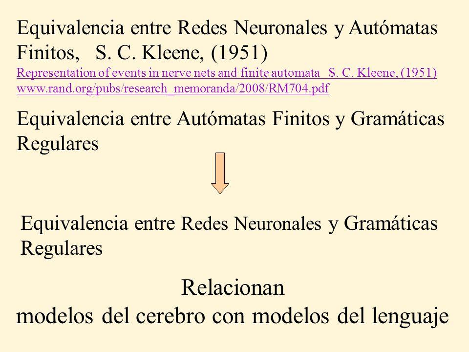 Equivalencia entre Redes Neuronales y Autómatas Finitos, S. C. Kleene, (1951) Representation of events in nerve nets and finite automata S. C. Kleene,