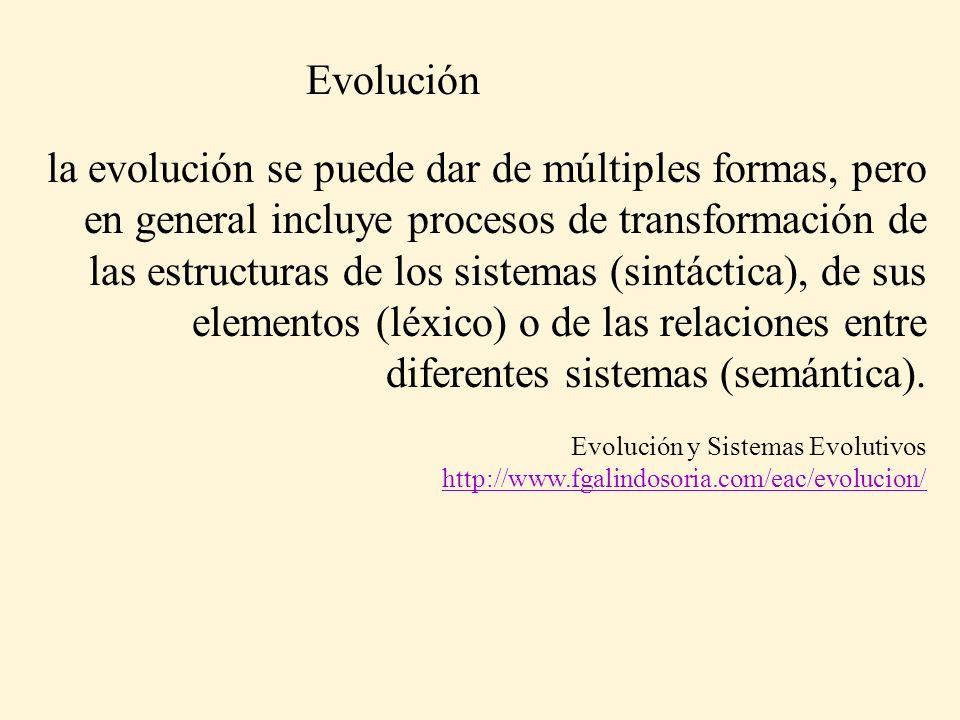 la evolución se puede dar de múltiples formas, pero en general incluye procesos de transformación de las estructuras de los sistemas (sintáctica), de sus elementos (léxico) o de las relaciones entre diferentes sistemas (semántica).