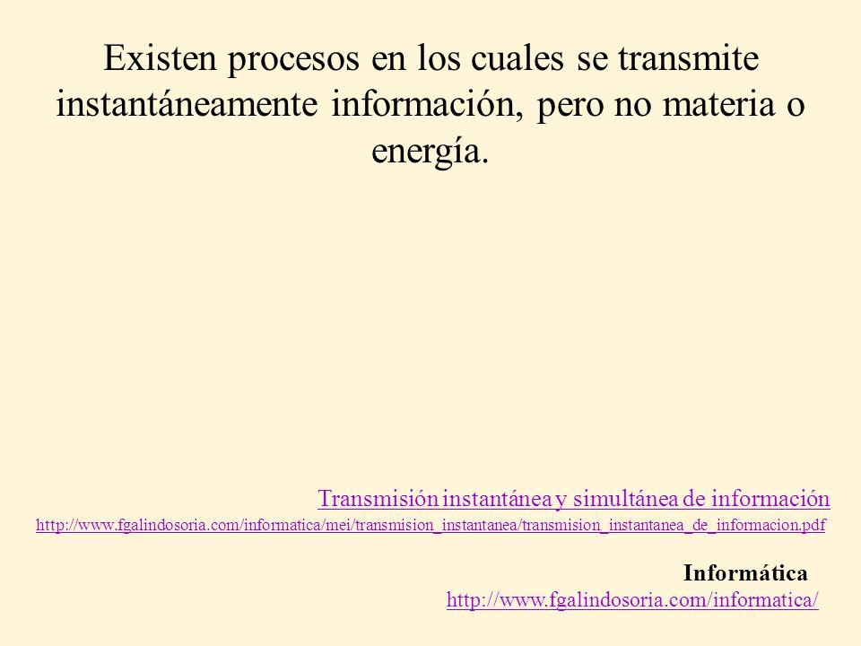 Informática http://www.fgalindosoria.com/informatica/ Transmisión instantánea y simultánea de información Existen procesos en los cuales se transmite