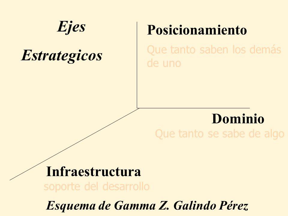 Dominio Posicionamiento Infraestructura Esquema de Gamma Z. Galindo Pérez Ejes Estrategicos Que tanto se sabe de algo Que tanto saben los demás de uno