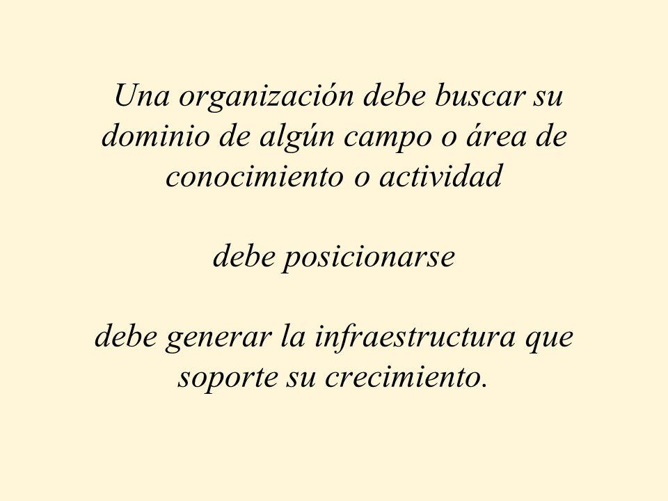 Una organización debe buscar su dominio de algún campo o área de conocimiento o actividad debe posicionarse debe generar la infraestructura que soport