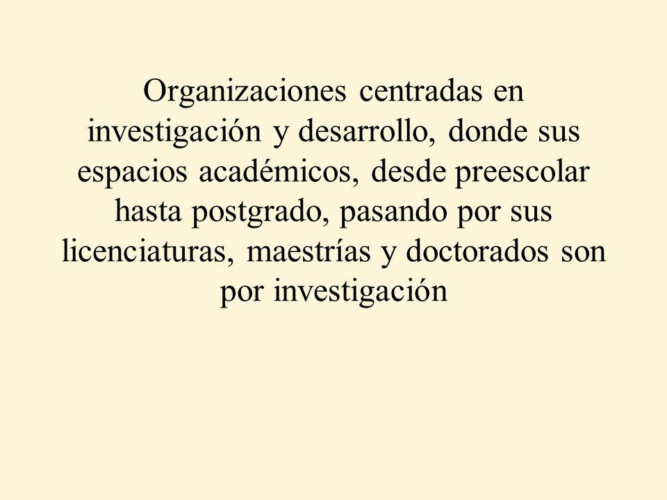 Organizaciones centradas en investigación y desarrollo, donde sus espacios académicos, desde preescolar hasta postgrado, pasando por sus licenciaturas