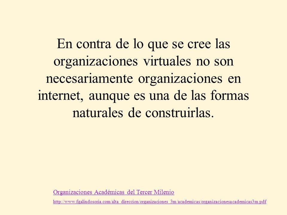 En contra de lo que se cree las organizaciones virtuales no son necesariamente organizaciones en internet, aunque es una de las formas naturales de co