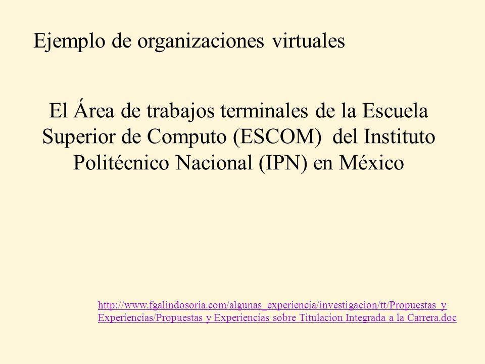 El Área de trabajos terminales de la Escuela Superior de Computo (ESCOM) del Instituto Politécnico Nacional (IPN) en México Ejemplo de organizaciones virtuales http://www.fgalindosoria.com/algunas_experiencia/investigacion/tt/Propuestas y Experiencias/Propuestas y Experiencias sobre Titulacion Integrada a la Carrera.doc