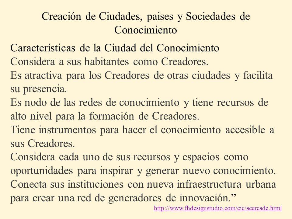 Características de la Ciudad del Conocimiento Considera a sus habitantes como Creadores. Es atractiva para los Creadores de otras ciudades y facilita