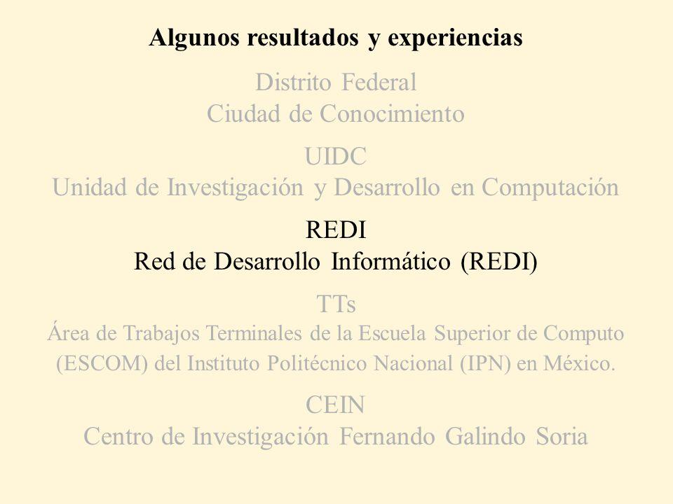 Algunos resultados y experiencias Distrito Federal Ciudad de Conocimiento UIDC Unidad de Investigación y Desarrollo en Computación REDI Red de Desarro