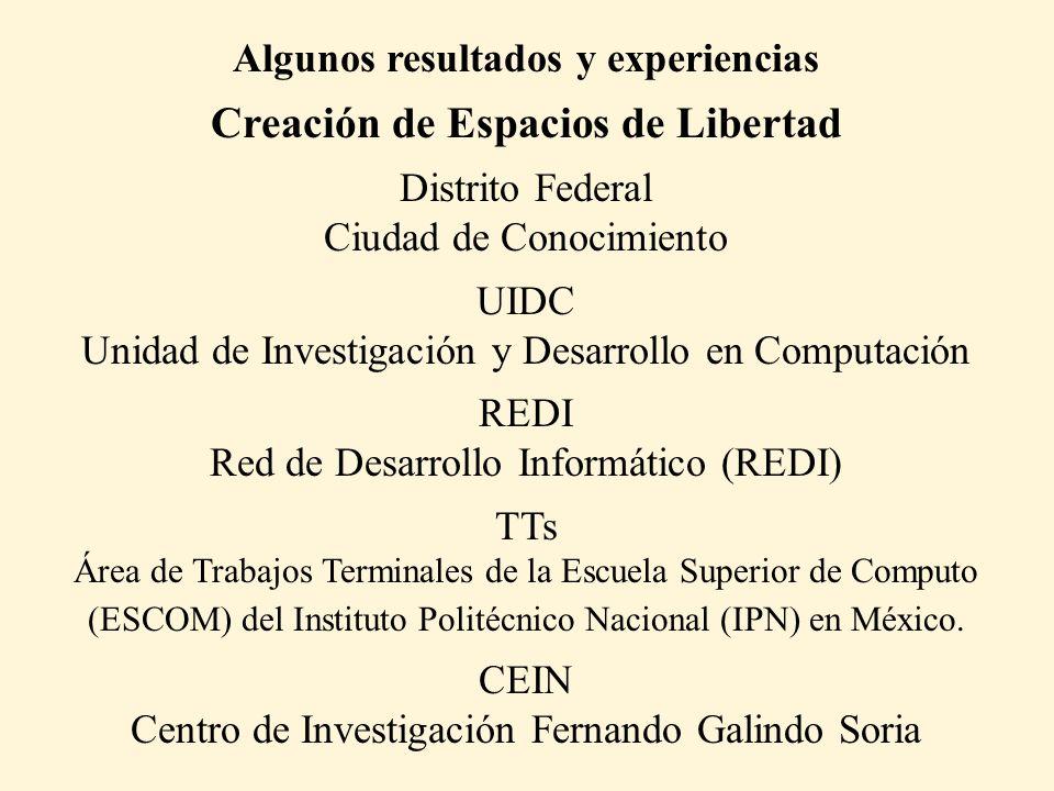 Algunos resultados y experiencias Creación de Espacios de Libertad Distrito Federal Ciudad de Conocimiento UIDC Unidad de Investigación y Desarrollo e