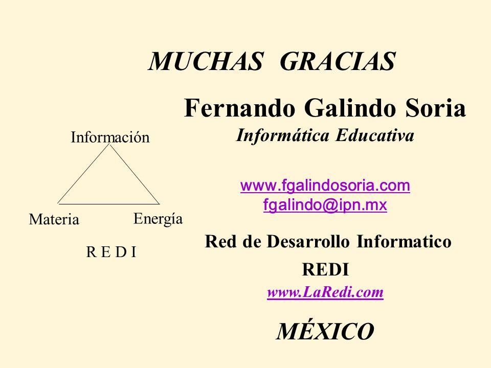 Fernando Galindo Soria Informática Educativa www.fgalindosoria.com fgalindo@ipn.mx www.fgalindosoria.com fgalindo@ipn.mx Red de Desarrollo Informatico REDI www.LaRedi.com MÉXICO www.LaRedi.com Materia Energía Información R E D I MUCHAS GRACIAS