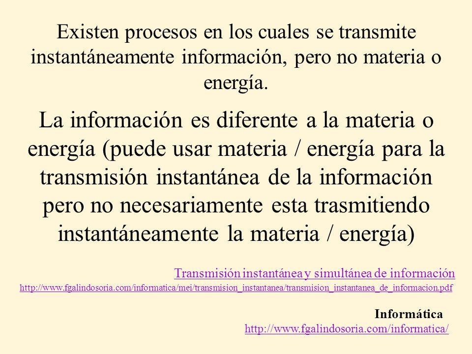 Informática http://www.fgalindosoria.com/informatica/ La información es diferente a la materia o energía (puede usar materia / energía para la transmi