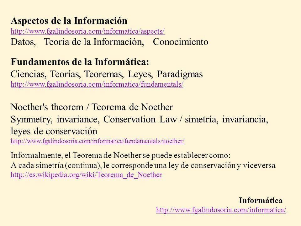Informática http://www.fgalindosoria.com/informatica/ Aspectos de la Información http://www.fgalindosoria.com/informatica/aspects/ Datos, Teoría de la Información, Conocimiento Fundamentos de la Informática: Ciencias, Teorías, Teoremas, Leyes, Paradigmas http://www.fgalindosoria.com/informatica/fundamentals/ Noether s theorem / Teorema de Noether Symmetry, invariance, Conservation Law / simetría, invariancia, leyes de conservación http://www.fgalindosoria.com/informatica/fundamentals/noether/ Informalmente, el Teorema de Noether se puede establecer como: A cada simetría (continua), le corresponde una ley de conservación y viceversa http://es.wikipedia.org/wiki/Teorema_de_Noether