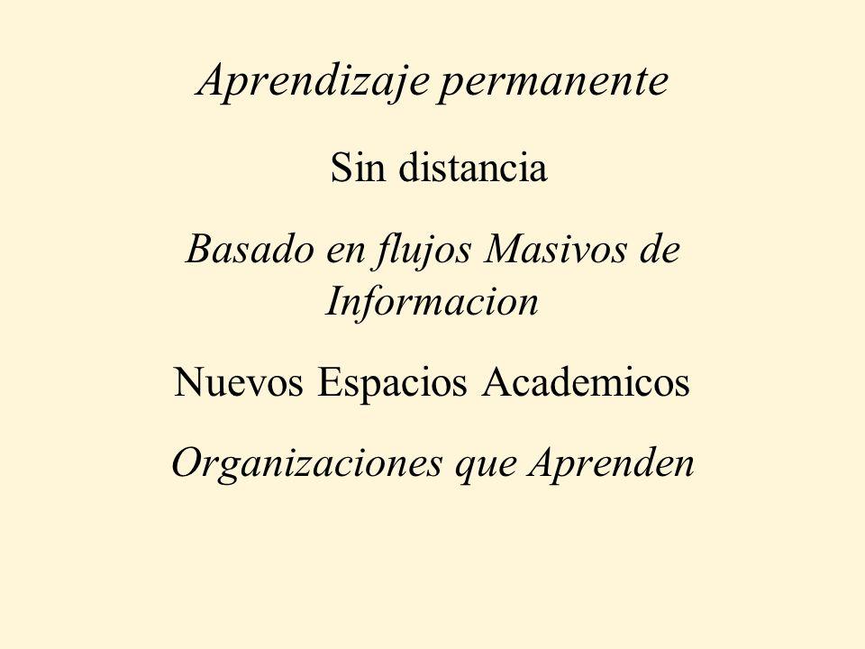 Aprendizaje permanente Sin distancia Basado en flujos Masivos de Informacion Nuevos Espacios Academicos Organizaciones que Aprenden