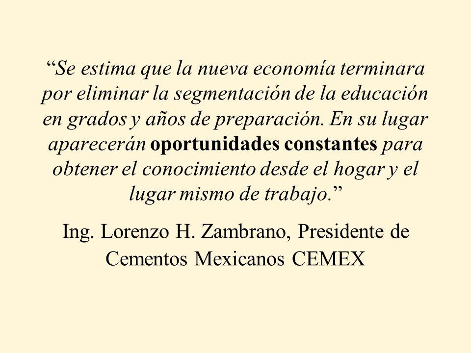 Se estima que la nueva economía terminara por eliminar la segmentación de la educación en grados y años de preparación.
