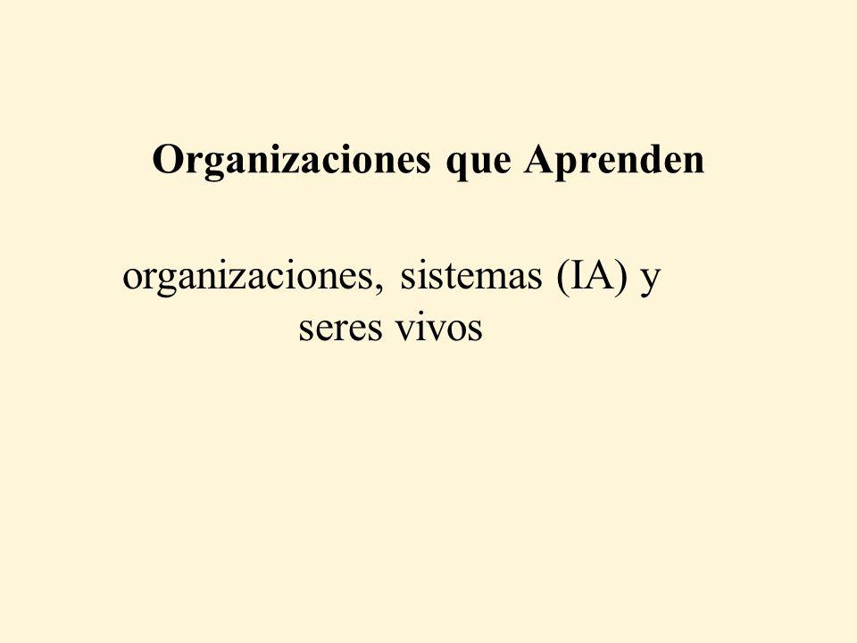 Organizaciones que Aprenden organizaciones, sistemas (IA) y seres vivos