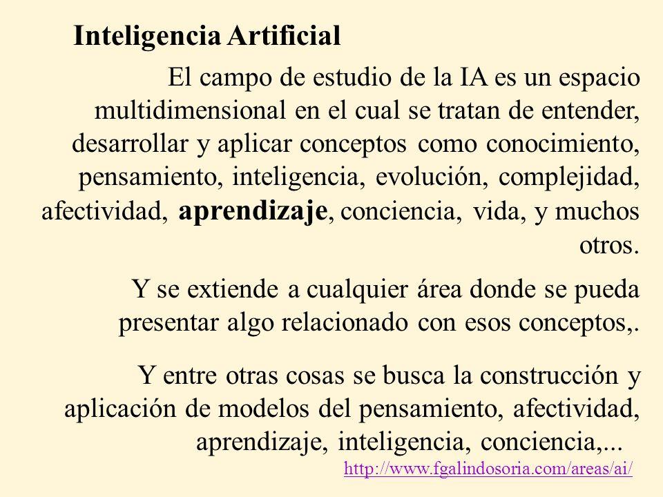 El campo de estudio de la IA es un espacio multidimensional en el cual se tratan de entender, desarrollar y aplicar conceptos como conocimiento, pensamiento, inteligencia, evolución, complejidad, afectividad, aprendizaje, conciencia, vida, y muchos otros.