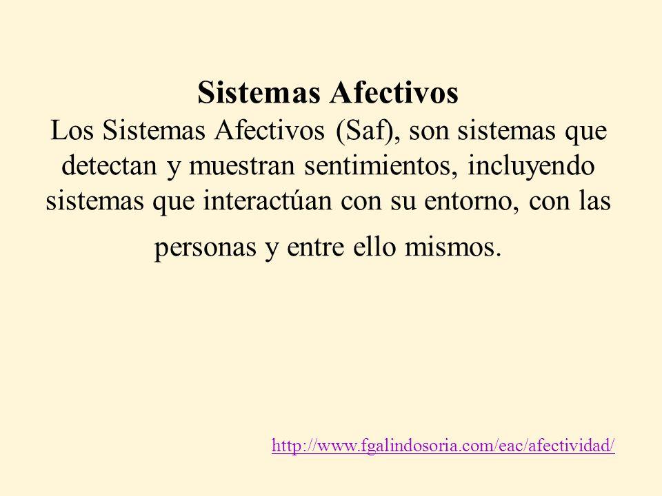 Sistemas Afectivos Los Sistemas Afectivos (Saf), son sistemas que detectan y muestran sentimientos, incluyendo sistemas que interactúan con su entorno