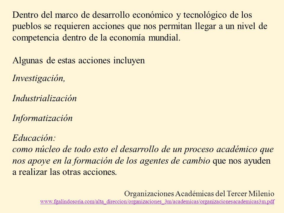 Dentro del marco de desarrollo económico y tecnológico de los pueblos se requieren acciones que nos permitan llegar a un nivel de competencia dentro de la economía mundial.