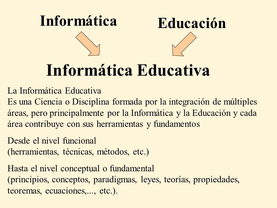 Informática Educativa Informática Educación La Informática Educativa Es una Ciencia o Disciplina formada por la integración de múltiples áreas, pero principalmente por la Informática y la Educación y cada área contribuye con sus herramientas y fundamentos Desde el nivel funcional (herramientas, técnicas, métodos, etc.) Hasta el nivel conceptual o fundamental (principios, conceptos, paradigmas, leyes, teorías, propiedades, teoremas, ecuaciones,..., etc.).