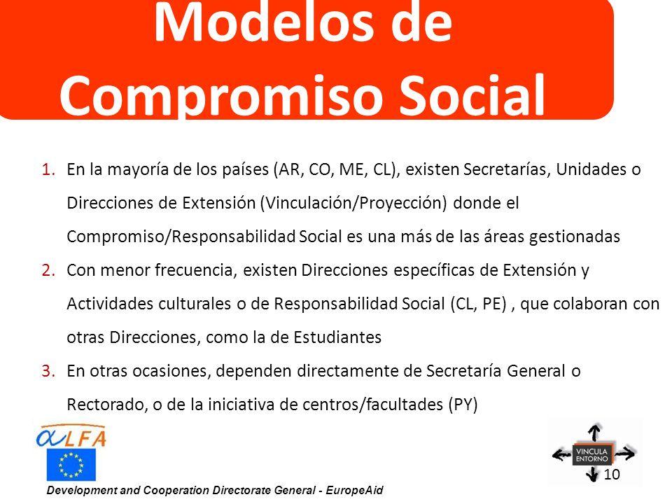 Development and Cooperation Directorate General - EuropeAid 10 Modelos de Compromiso Social 1.En la mayoría de los países (AR, CO, ME, CL), existen Se