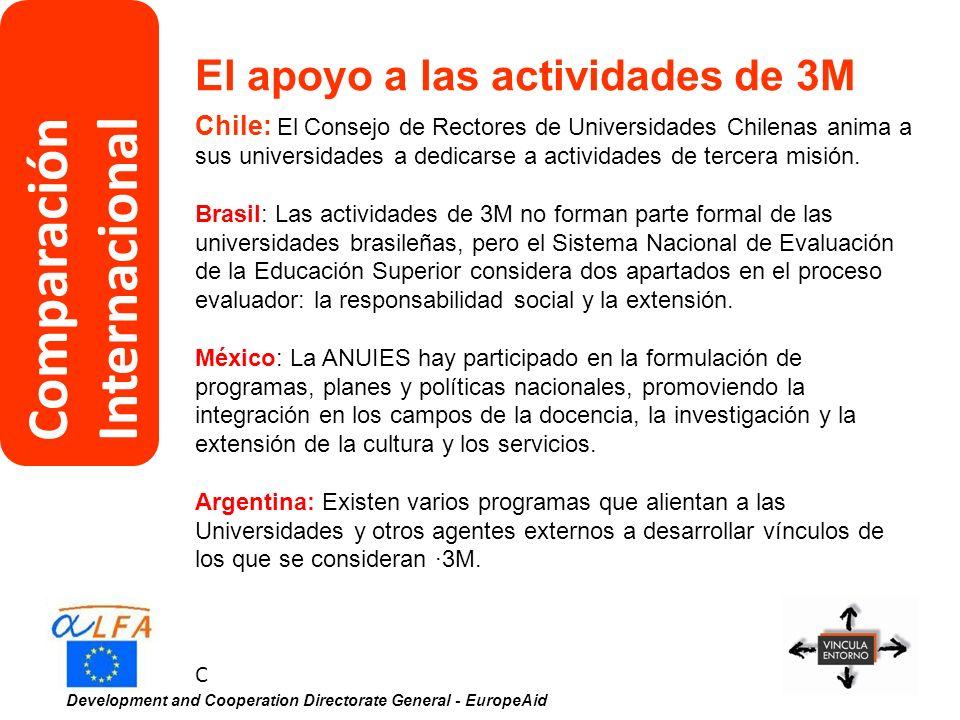 Development and Cooperation Directorate General - EuropeAid El apoyo a las actividades de 3M Chile: El Consejo de Rectores de Universidades Chilenas a