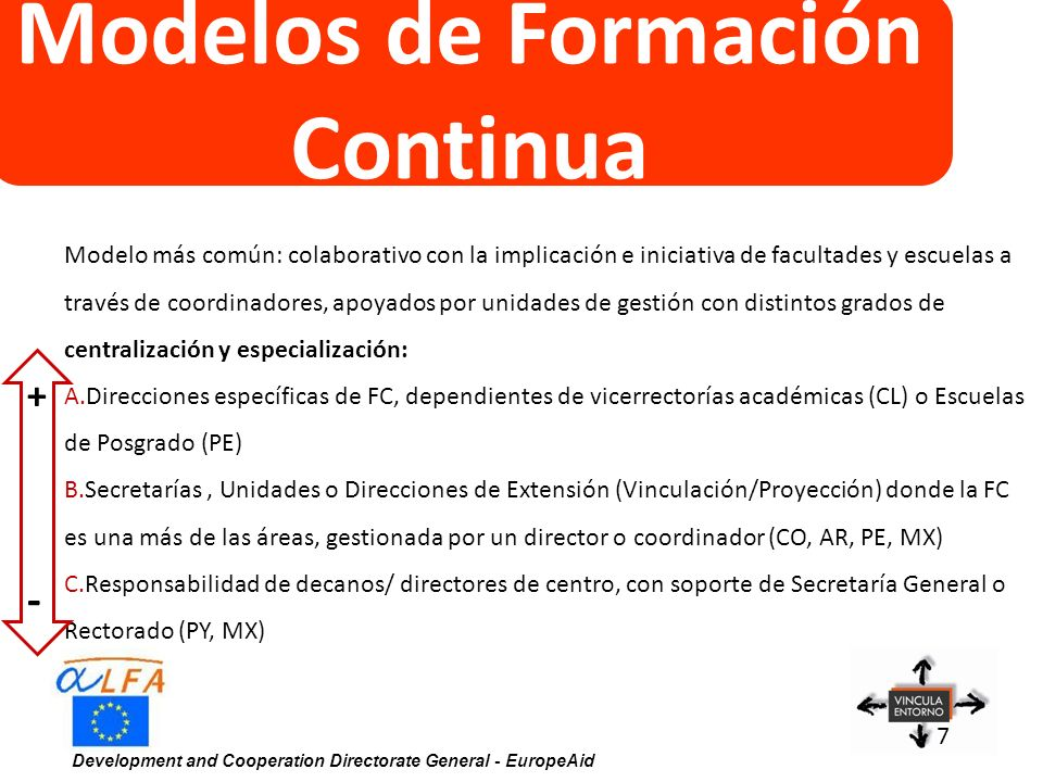 Development and Cooperation Directorate General - EuropeAid 7 Modelos de Formación Continua Modelo más común: colaborativo con la implicación e inicia