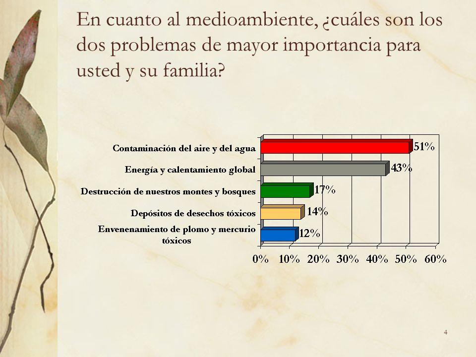 4 En cuanto al medioambiente, ¿cuáles son los dos problemas de mayor importancia para usted y su familia