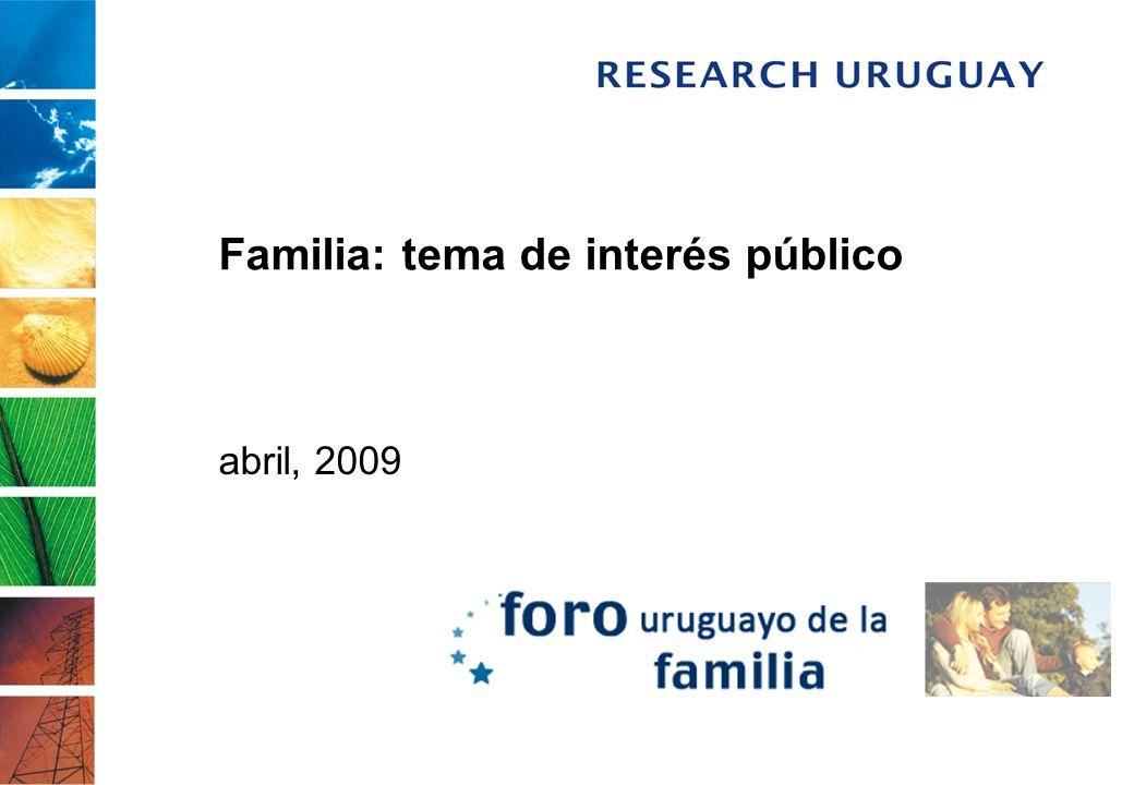 Introducción El presente documento resume los resultados del trabajo realizado por Research Uruguay para el Foro Uruguayo de la Familia, con el objetivo principal de investigar el estado actual de la opinión pública en torno al tema.