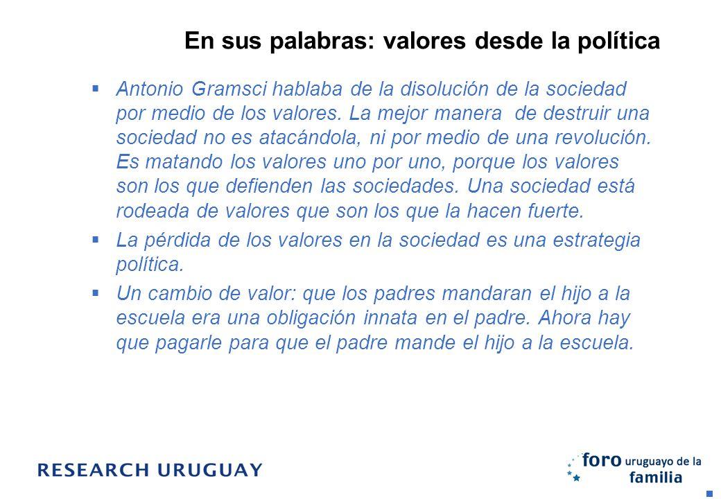 En sus palabras: valores desde la política Antonio Gramsci hablaba de la disolución de la sociedad por medio de los valores. La mejor manera de destru
